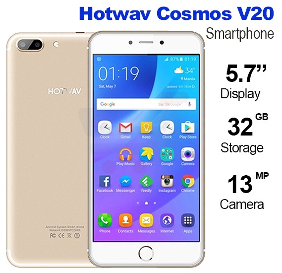 Hotwav Cosmos V20 Smartphone, 4G, Android 6.0,32GB Storage,2GB RAM, 5.7inch IPS LED Display,Dual SIM,Dual Camera,WiFi-Gold