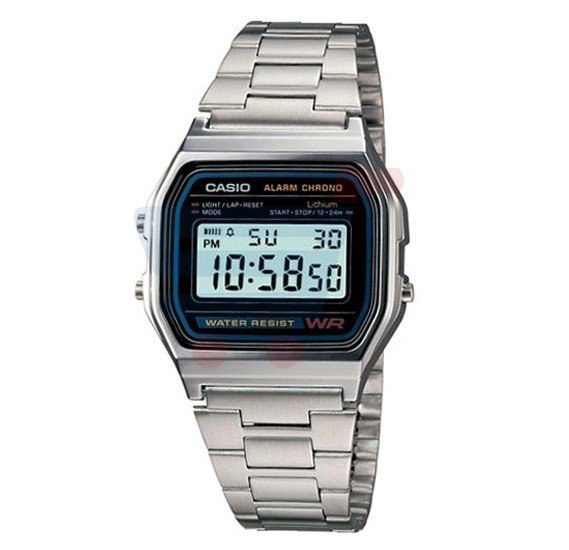 Casio Digital Watch For Men, Rectangular Face Stainless Steel-A158WA-1DF