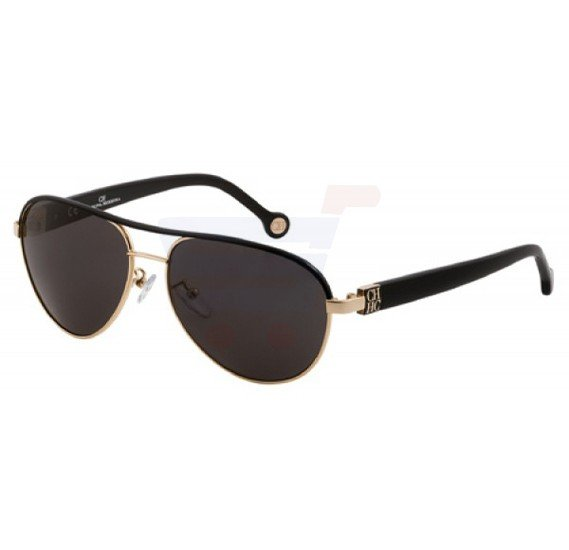 Carolina Herrera Oval Black Frame & Grey Mirrored Sunglasses For Women - SHE019-300F