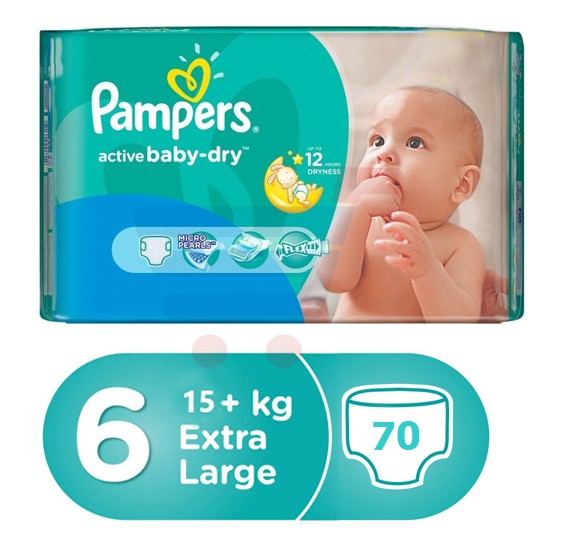 Pampers Active Baby Carry Pack 15+ Kg, 70 Count(5x14pcs)