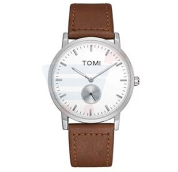 Tomi Analog Quartz Mens Watches TO73, Brown Silver