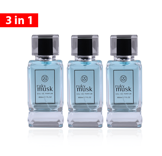 Ruky Musk EDP 50 ML for Unisex, 3 Piece Pack