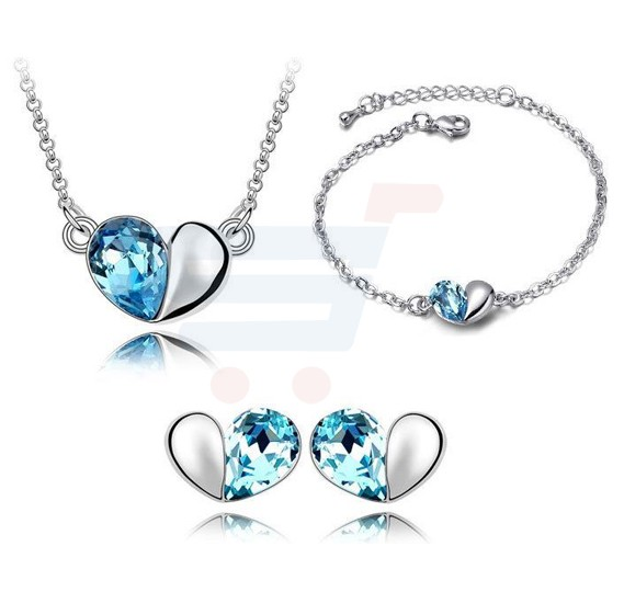 18k Gold Plated Swarovski Crystals Jewelry Set For Women