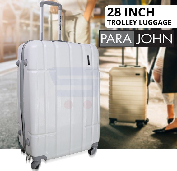 Para John 28 Inch Trolley Luggage, White- PJTR4024