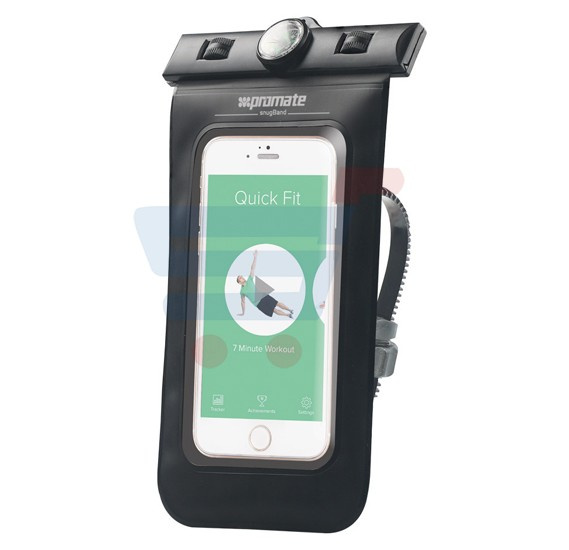 Promate Universal Waterproof Case with Bike Mount with Waterproof Headsets, SNUGRIDE.BLACK