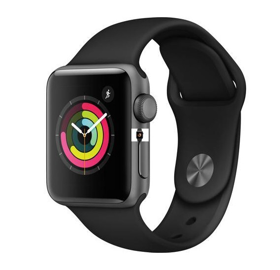 Apple Series 3 Watch MTGH2 38 mm Space Gray Aluminum Case with Black Sport Band