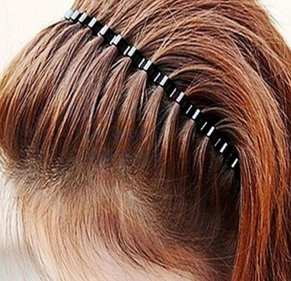 Black Metal Wire Comb Sports Head Band For Unisex