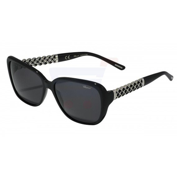 Chopard Oval Black Frame & Black Mirrored Sunglasses For Unisex - SCH184S-0700