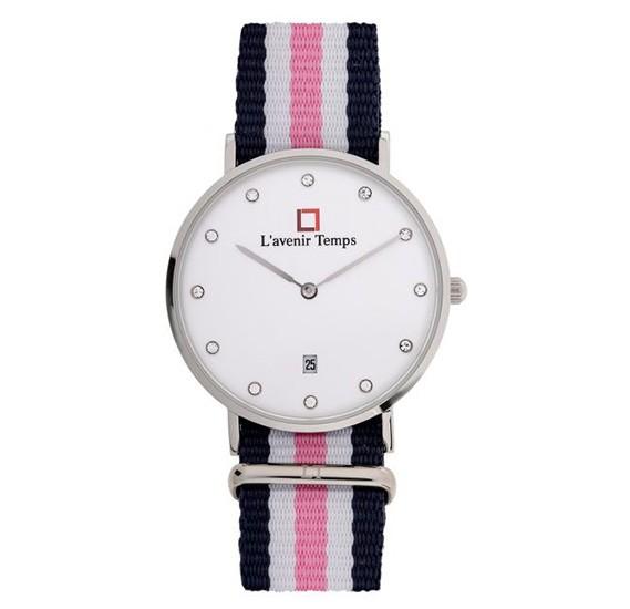 Lavenir Temps Analog Diamond Silver with Pink Nato Strap Watch For Woman - W-LT00583YBR-1