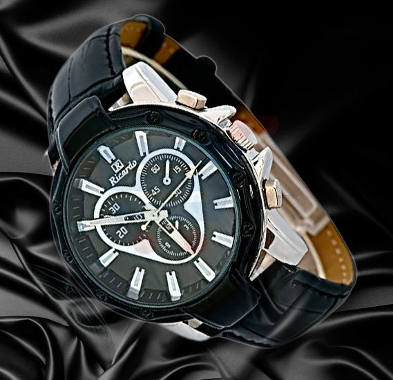 Ricardo Black Leather Strap Chronograph Analog Watch For Men-RC-1201