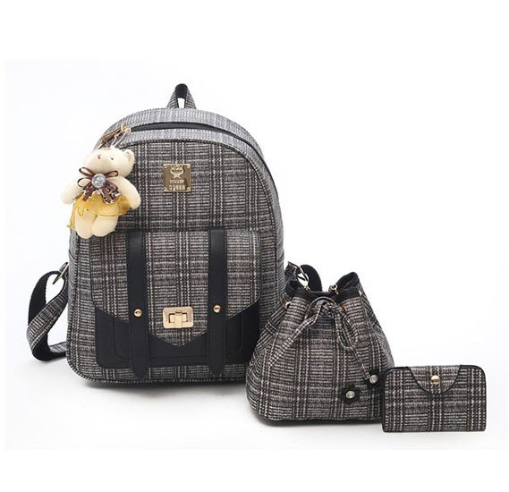 Women Backpacks Fashion Bear Pendant Bags 3 pcs Sets-Black
