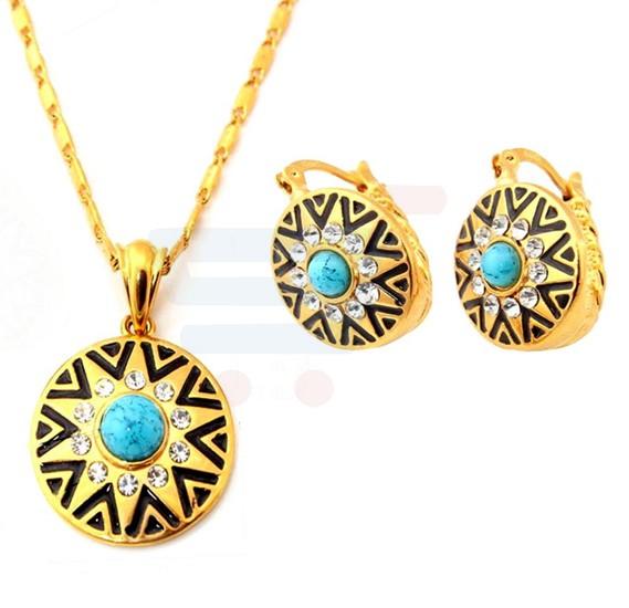 18K Gold Plated Sun Star Pattern Pendant Earrings Set For Women