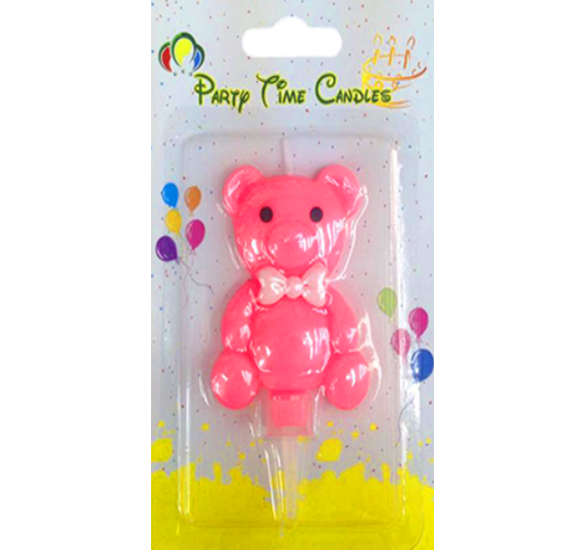 Party Time Bear Pink Candle G550-B