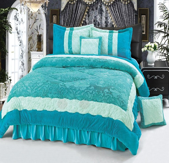 Senoures Velour Comforter 6Pcs Set King - SPV-001 Green