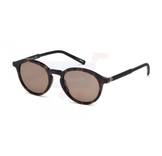 Mont Blanc Round Havana Frame & Brown Mirrored Sunglasses For Unisex - MB608S-52J