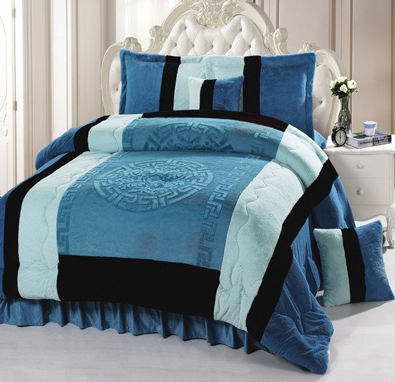 Senoures Velour Comforter 6Pcs Set King - SPV-007 Green