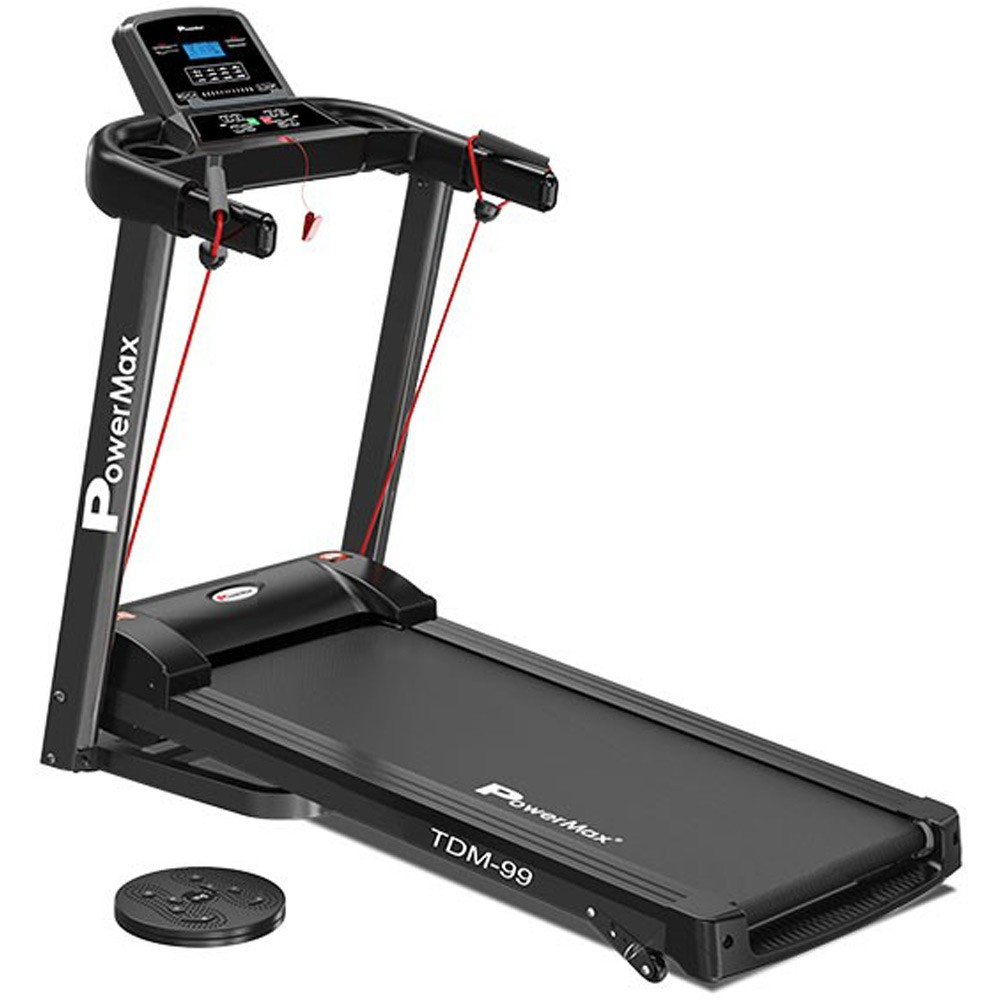 PowerMax Fitness Unisex Adult TDM-99 Series Motorized Light Weight, Foldable, Electric Treadmill, Running Machine For Max Pro Workout At Home - Black, General-Foldable