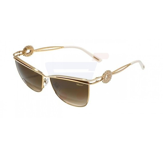 Chopard Cat-eye Rose Gold Frame & Gradient Brown Mirrored Sunglasses For Women - SCHB26S-0H32