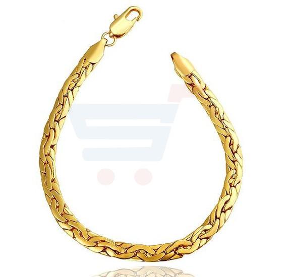 18k Gold Plated Trendy Snake Chain And Link Bracelet For Men