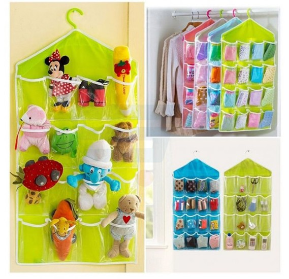 Candy Color Wall Mounted 16 Grid Storage Bag
