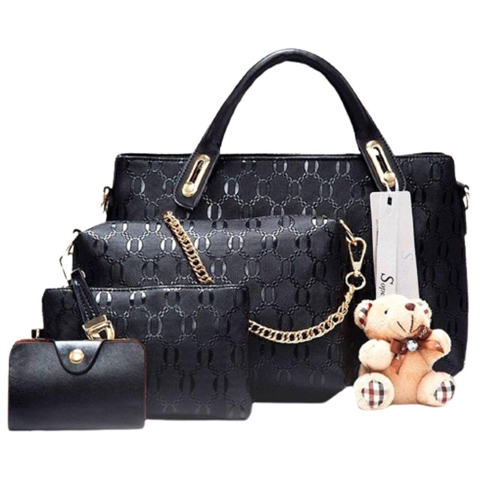 Womens 4 Pcs PU Composite hand bag set with Teddy Keychain Black
