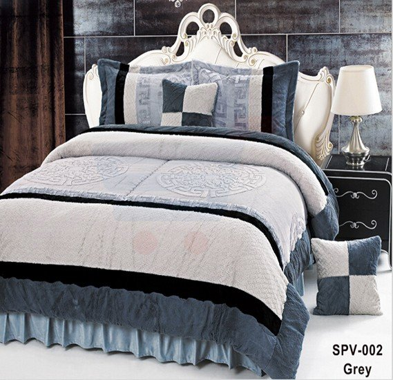 Senoures Velour Comforter 6Pcs Set King - SPV-002 Grey