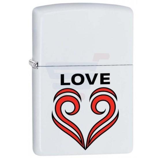 Zippo Love Theme Lighter White Matte Finish - 29193 214