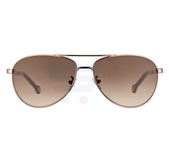 Carolina Herrera Round Bronze Frame & Gradent Black Mirrored Sunglasses For Women - SHE045-0R15