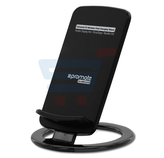 Promate Wireless Charger, Ultra-Fast Universal Wireless Charger Stand for All Qi-Enables Devices like Samsung S7/S7 Edge, S6/S6 Edge, Note 5, Nexus 6/5/4 – AuraDock-2 Black