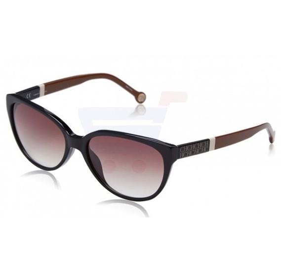 Carolina Herrera Round Black Frame & Black Brown Mirrored Sunglasses For Women - SHE572-0700