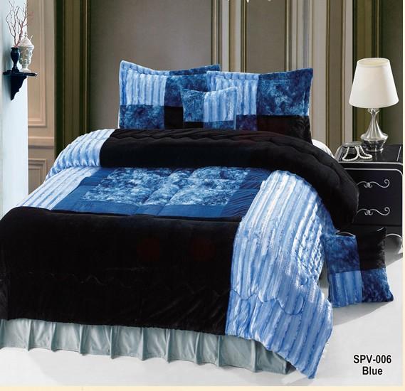 Senoures Velour Comforter 6Pcs Set King - SPV-006 Blue