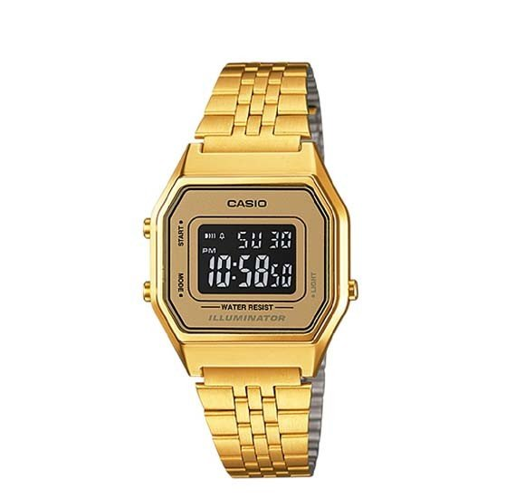 Casio Womens Digital Dial Stainless Steel Watch ,LA680WGA-9BDF, Gold