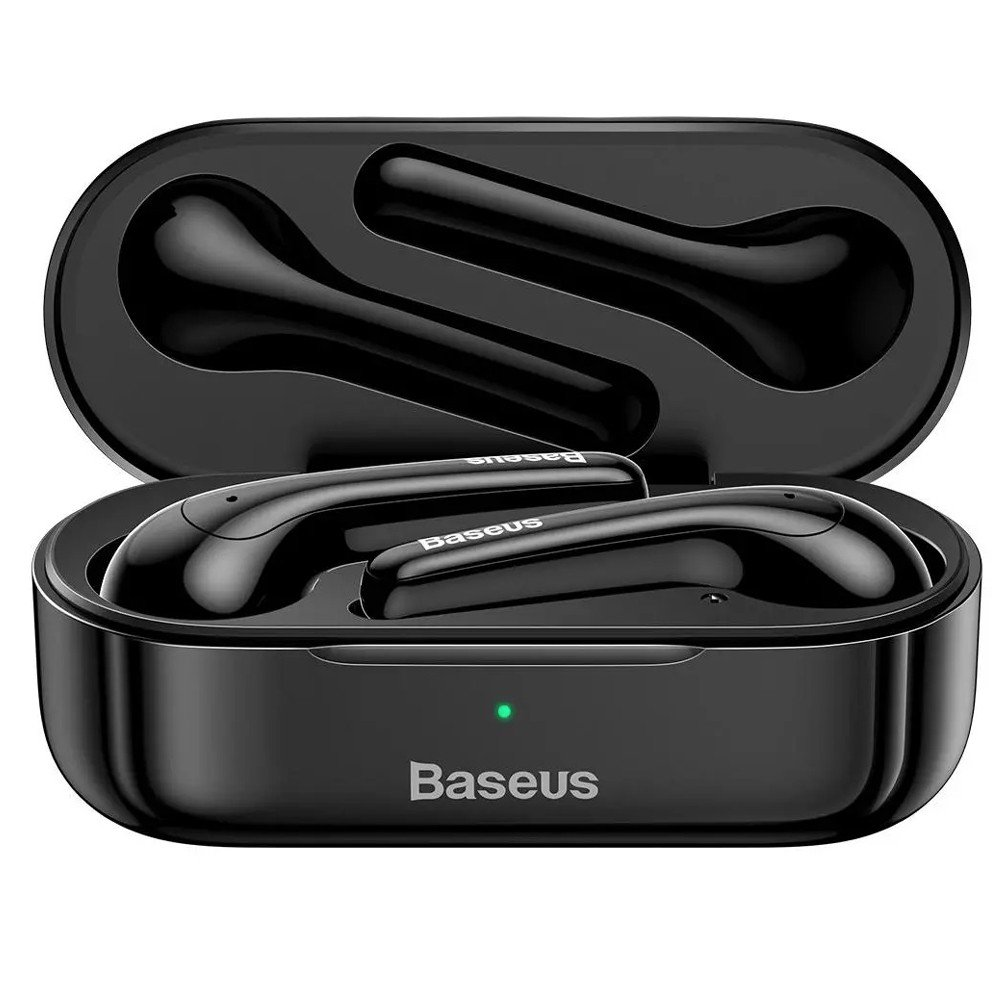 Baseus W07 bluetooth 5.0 Earphone Stereo Sports Wireless Headphone with Dual Noise Reduction Mic, Black -1 year warranty