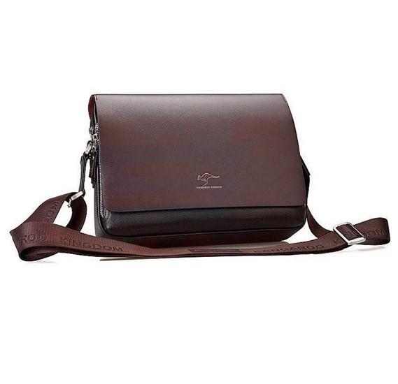 Kangaroo Kingdom High Quality Leather Brown Bag For Men Brown