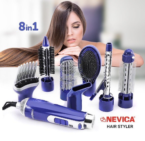 Nevica Hair Styler 8 in 1, NV-2008HS Hot Air Hair Styler 2 Speed Pro Hair Straightener & Curlers Iron & Dryer & Hair Brush Set Electric Styling Tools
