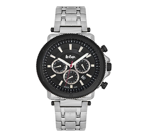 Lee Cooper Mens Multi function Silver Case Silver Super Metal Strap Black Dial, LC06183.350