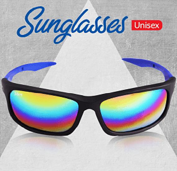 A&H Sunglasses Unisex Black and Blue, AH2148