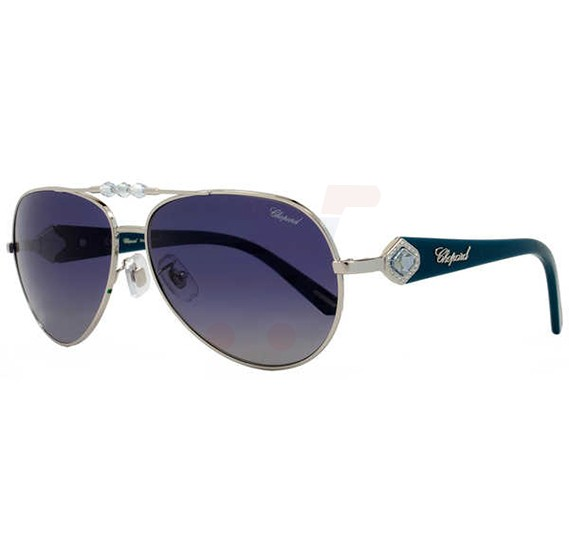 Chopard Oval Palladium Frame & Blue Gradient Mirrored Sunglass For Women - SCH997S-579P