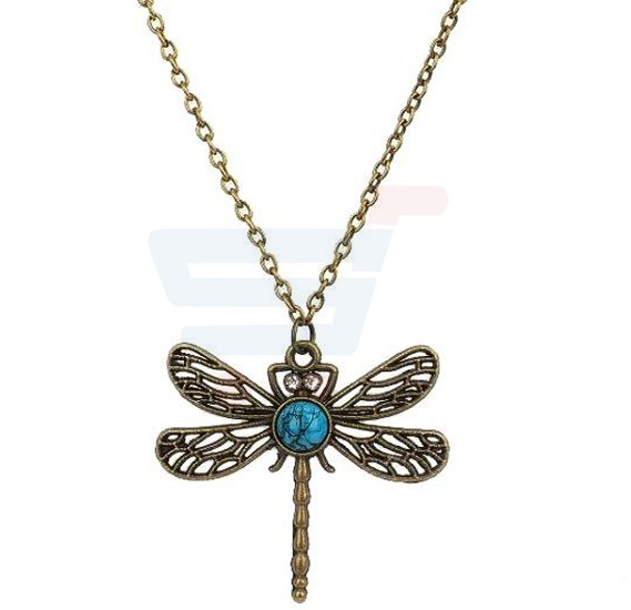 Long Pendant Hollow Personality Dragonfly Necklace Chain, Retro Fashion