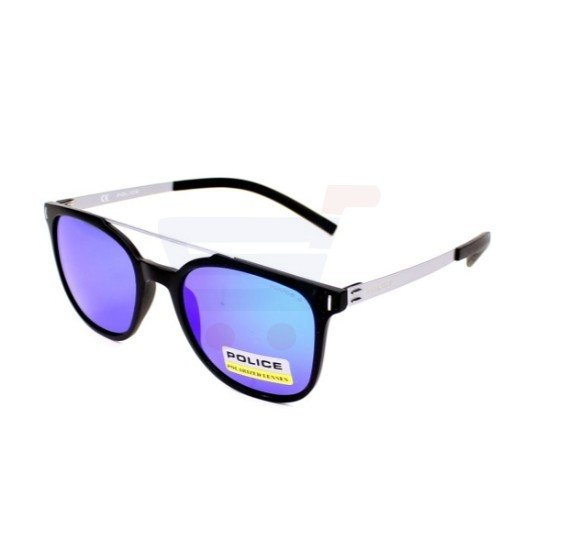 Police Wayfarer Matt Black Frame & Brown Polarised With Blue Mirror Effect Mirrored Sunglasses For Men - SPL169-U28B