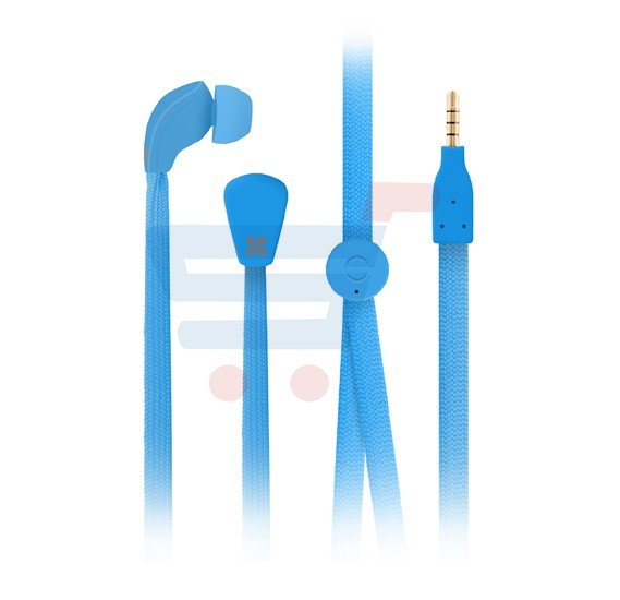 Promate Flat Trendy Tangle Free Lace Design Headphones in EAR Earphones with Built-in Microphone for Apple, Samsung - Lacey.Blue