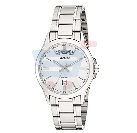 Casio Analog Watch For Men, Silver Stainless Steel Band-MTP-1381D-7A