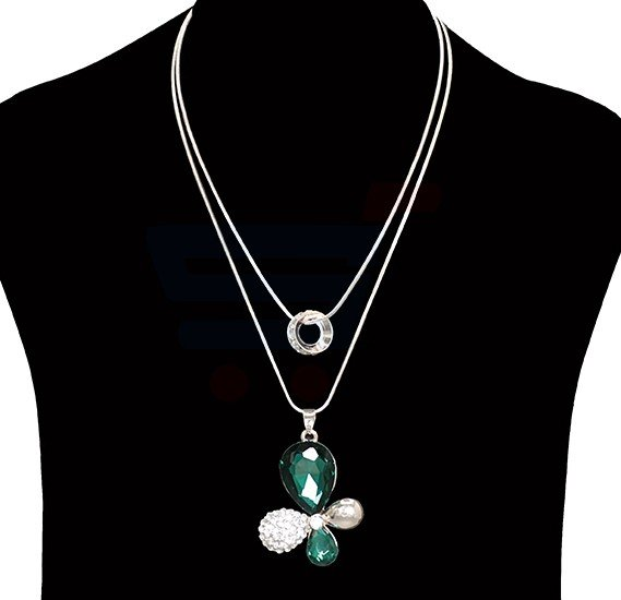 Hongyu Fashion Jewelry Green Crystal Necklace NO.FJ-407
