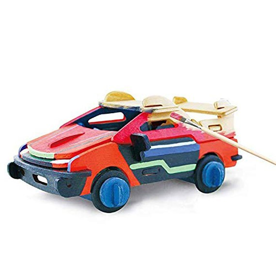 3D Painting Wooden Puzzles Car Model Kit for Kids HC256
