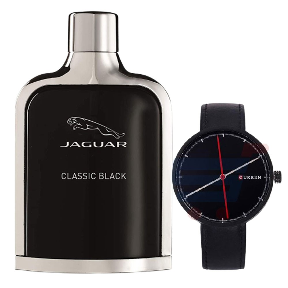 2 In 1 Jaguar Classic Black Edt 100ml For Men And Curren Black Leather Strap Mens Watch, -M 8223