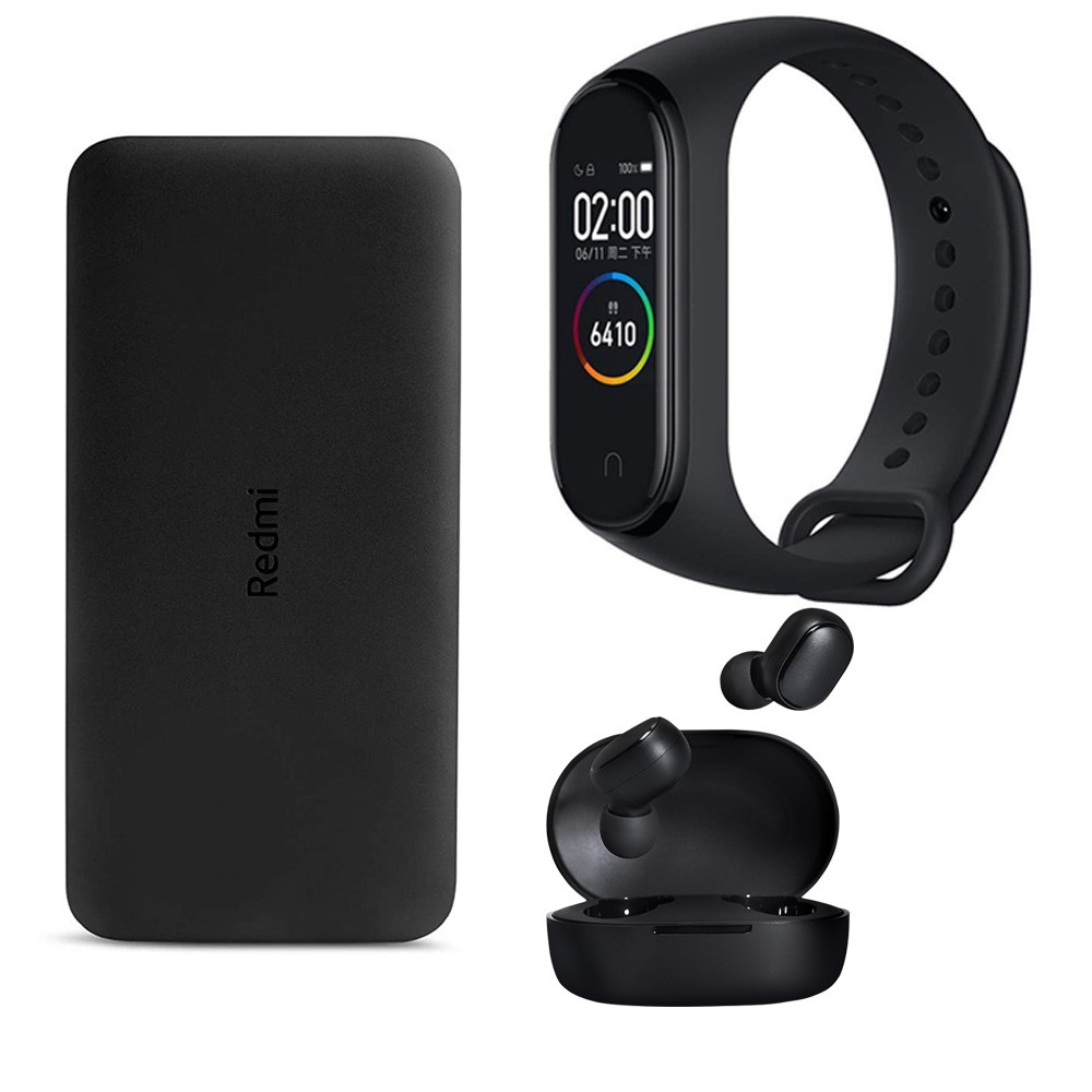 3 In 1 Combo Offer, Redmi 10000 mAh Li-Polymer Power Bank Black +MI Xiaomi Redmi AirDots Wireless Earbuds And Xiaomi Mi Band 4 Waterproof Fitness Tracker-Black