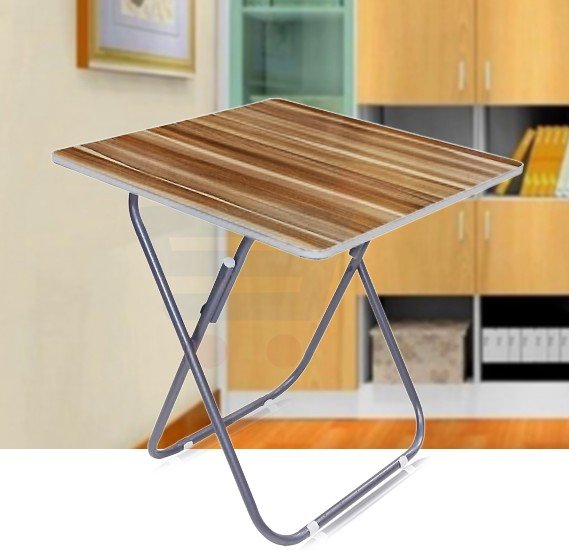 Wooden And Metal Rod Square Table- 133-7