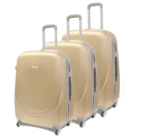 Traveller Abs 4 Wheel Trolley Set 20, 24 and 28 Inch - Golden