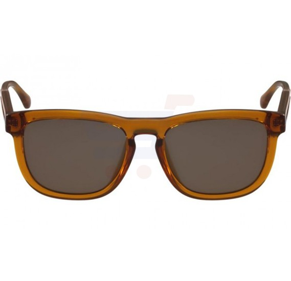 Calvin Klein Oval Shiny Butterscotch Frame & Grey Mirrored Sunglasses For Unisex - CK3187S-212