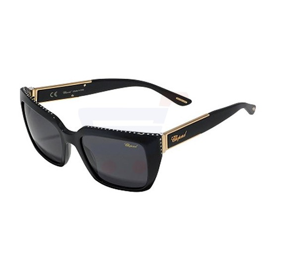 Chopard Wayfarer Shiny Black Frame & Grey Mirrored Sunglasses For Unisex - SCH190S-700F